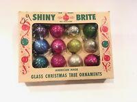 "Vintage Shiny Brite Small 1"" Christmas Tree Ornaments Box of 12"