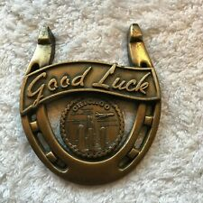 Chicago, Il Good Luck Horseshoe 3 1/2 x 3 inches Rare Collectible Vintage Brass