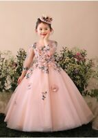 HIGH QUALITY Childrens Girls Pageant Flower Embroidered Ruffled Dress Gown ZG9