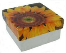 """Capiz Shell Box with Sunflower Design, Airbrushed By Hand, Decorative Box, 3"""""""
