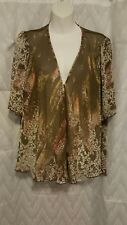 New Directions Womens Bell Sleeve Waterfall Cardigan Size M Brown Floral Career