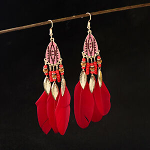 Vintage Women Bohemian 18K Gold Water Drop Feather Long Tassel Earrings Jewelry