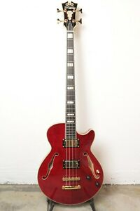 D'Angelico Excel Bass Semi-Hollow Bass Guitar - Cherry
