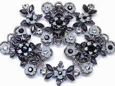 6 - 2 HOLE BEADS BLACK DIAMOND & JET AUSTRIAN CRYSTAL BLACK & GREY FANCY FLORAL