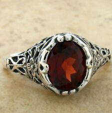 Filigree Silver Ring Size 6, #775 Genuine Garnet .925 Sterling Antique Design