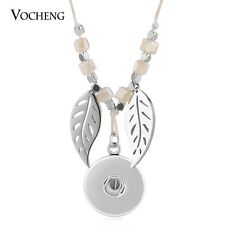 18mm Snap Charms Necklace Natural Stone Rope Chain Leaf Charms Jewelry NN-616