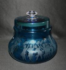 ancienne bonbonnière pub John Tavernier verre soufflé gravé bleu fin XIX ème