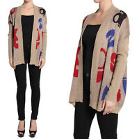 TheMogan Letter Print Ribbed Knit Open Front Sweater Cardigan Layering Jacket