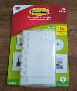 3M Command Damage-Free Picture and Frame Large Hanging Strips 34 Pairs/68 Strips