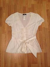 BNWOT Ladies Morgan Cream Short Sleeve Cotton Lace Blouse With Belt-UK 12,EUR 40