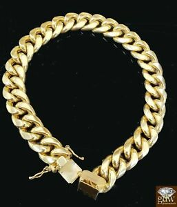 """Real Gold Mens Miami Cuban Link Bracelet 8"""" 10MM 10k Yellow Gold Box Clasp Thick"""