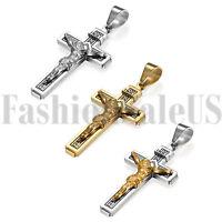 Stainless Steel Jesus Christ on INRI Cross Crucifix Men Pendant Necklace w Chain