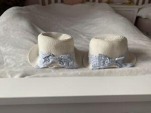 Twin Girl Straw Sun Hats 6-9 Months
