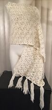 Vtg 70s 7 Foot Handmade Crochet Knit White Wrap Shawl Scarf Fringed Hippie Boho