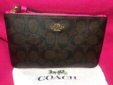 Coach Signature PVC Large Wristlet F58695 Brown/Bright Fuchsia w/ Coach gift box