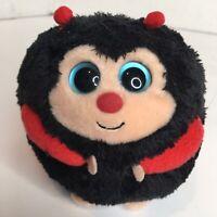 "4"" Ty 2012 Dots Beanie Baby Ballz Plush Ladybug Ball Small Stuffed Animal Round"