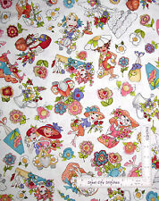 Loralie Harris Fabric Blossom Lady Flower Water Can Toss White By The Yard