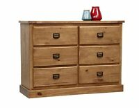 Portobello Large Wide Rustic Oak Stained Solid Pine 6 Drawer Chest Dresser
