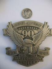 HARLEY 90TH ANNIV1903-1993 3X3  LARGE METAL EAGLE ICON 75TH STURGIS ANNIV+DIME