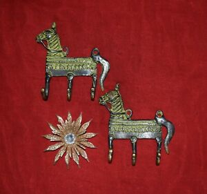 Brass Horse Hook Set Of 02 Pieces 3 In 1 Style Key Holder Wall Hook Decor EK380