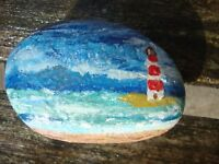 Lighthouse pebble art - hand painted stone, garden ornament, paperweight