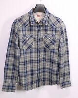 HB46 Levis Herren Hemd blau grau kariert Gr. S slim fit Western Shirt Druckknopf