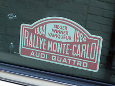 "AUDI QUATTRO Monte Carlo Rally Winner 1984 Window STICKER 5"" Classic Car Rallye"