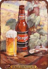 "Burger Bohemian Beer Vintage Retro Metal Sign 8"" x 12"""