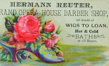 1870's-80's Hermann Reuter Grand Opera House Barber Shop Wigs To Loan Card 2 F80