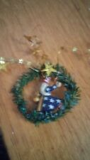 Midwest of Cannon Falls- Santa in a Wreath with Stars Ornament- Pam Schifferl
