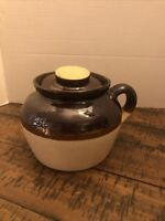 Vintage Brown/Tan Stoneware One Handled Bean Pot With Lid Pottery USA
