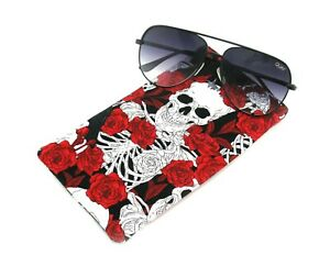 Red Rose Skull and Bones Sunglasses Case, Reading Glasses Case, Snap Top Pouch