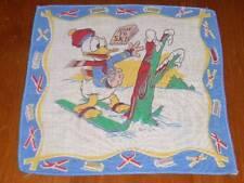 Vintage  Disney Donald & How To Ski Hanky Handkerchief Hankies