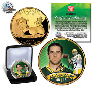 """AARON RODGERS """"PACKERS"""" 24KT GOLD WISCONSIN STATEHOOD QUARTER! SIGNATURED! BOX!"""