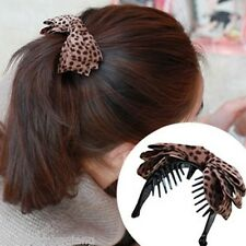 Fashion Korean Style Women Leopard Print Bow Hair Claw Clips Ponytail Holder