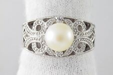 Women's 8.0 mm Cultured Pearl Filigree Diamond Cocktail Ring in 10k White Gold
