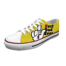 Ish Original Women Best Daddy Ever Low Top White Rubber Sole Canvas Sneakers