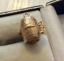 Superb Vintage Hallmarked Solid 9CT Gold Opening Brandy Barrel Charm  Dog Inside