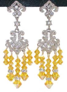 LIGHT TOPAZ Yellow Crystal Chandelier Earrings Swarovski Elements Silver
