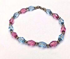 "Solid 14K Yellow Gold Beads and Blue + Pink Swarovski Crystal Bracelet 7.5"""