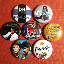 "7 80s 1"" Buttons - FREE SHIPPING! 1980s eighties Madonna Prince Michael Jackson"