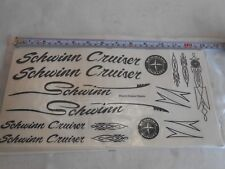 Schwinn Cruiser Bike Bicycle Frame Set Decals 17 Stickers Black / Clear