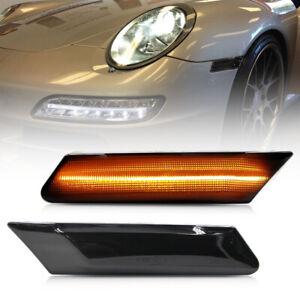 Smoke Lens Amber LED Side Marker Light for 06-12 Porsche Boxster Cayman Carrera