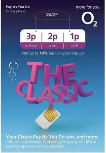 O2 Sim Card - New and Sealed Classic O2 Pay As You Go 02 O2 PAYG SIM