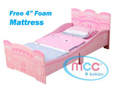 MCC Castle Princess Junior Toddler Kids Bed With Luxury Foam Mattress Made in