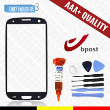 AAA+ GLASS/FRONT GLAS BLACK + TOOLS & REPAIR GLUE FOR SAMSUNG GALAXY S3 I9300