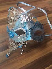 Masquerade Máscara Veneciana Filigrana Azul/Plata Metal Diamonte Baile Baile de graduación fiesta