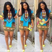 Summer Women Traditional African Print Dress Casual Clubwear Party Mini Dress