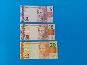 Lot Brazil(2010)P253,254,255.(5,10,20 Reais)Uncirculated&Combined Shipping