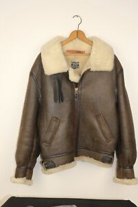 AVIREX B-3 Bomber Flight Jacket Leather Sheepskin Shearling - Made in USA Sz 40